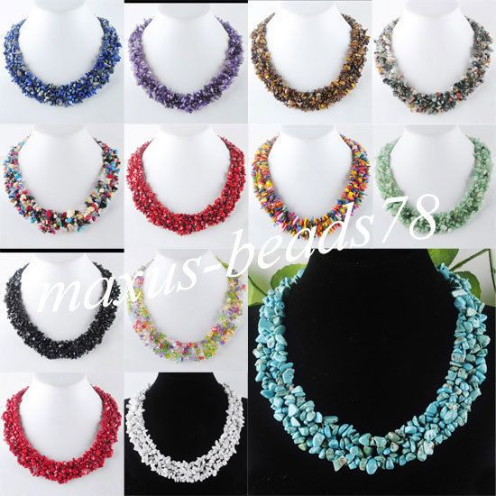 """Free Shipping Chips Gemstone Beads Weave Necklace Jewelry 17 1/2 """" MBH007 in Jewellery & Watches, Costume Jewellery, Necklaces & Pendants 