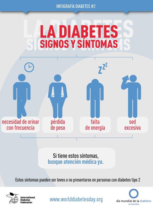 La diabetes. Signos y síntomas. Infografía de la