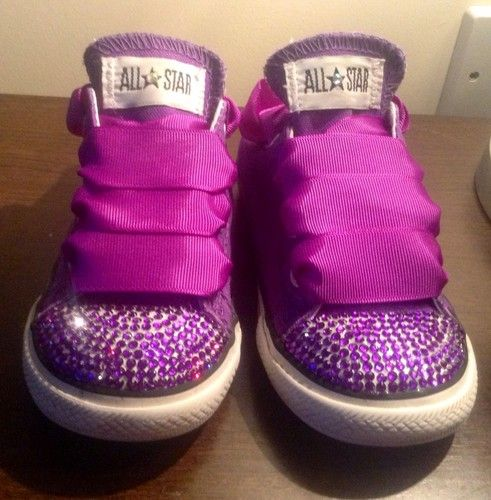 Stunning Customised Crystal Converse Infant Size 7