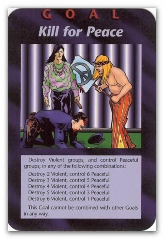 "Elite's Illuminati Card Game&NWO/Goal: Kill for Peace:This card depicts hippies, one holding a peace sign, standing over a policeman, who is on all fours in a begging position. The Hippies are poised and ready to kill him. It represents the killing ""for peace"" that will happen to people who will not go along with the New World Order and its plans-namely, Christians and Jews.A peace sign is upside down broken cross and also speaks of the destruction of Christianity and its followers at this…"