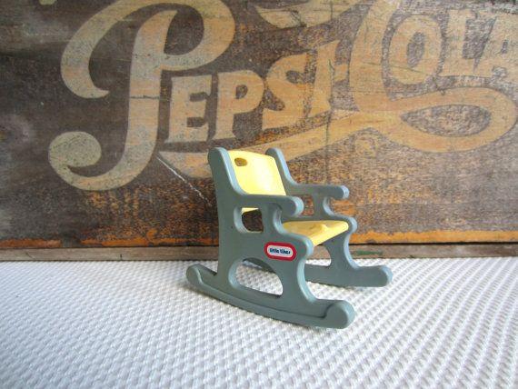 Vintage Little Tikes Blue Rocking Chair Dollhouse Toy Furniture