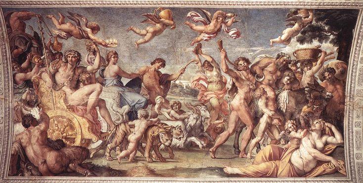 """El triunfo de Baco y Ariadna de Annibale Carracci - Fulvio Orsini (11 de diciembre de 1529, Estados Pontificios -18 de mayo de 1600, Roma, Italia), fue un humanista italiano. Era probablemente hijo natural de Maerbale Orsini, un miembro de la línea de Mugnano de la familia Orsini. Ideo el programa de los amores entre los dioses los mortales a partir de los episodios de """"Las metamorfosis"""" de Ovidio y quiso evocar con ello el reciente matrimonio de Rannuccio Farnese y Margarita Aldobrandini…"""