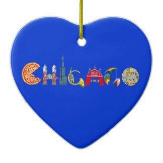 Chicago Christmas Ornament Blue Heart