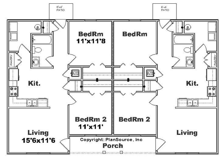 22 best apartment plans images on pinterest apartment for 4 plex plans narrow lot