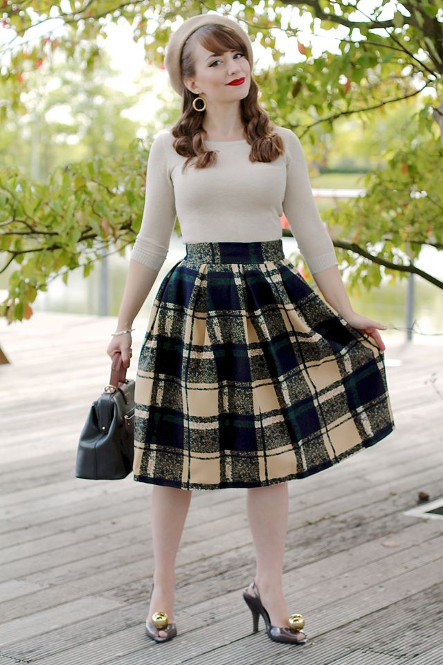 Autumnal vintage style outfit with check skirt, gold bardot top and Vivienne Westwood globe heels