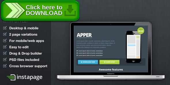 [ThemeForest]Free nulled download Apper - Instapage App Presentation Template from http://zippyfile.download/f.php?id=1824 Tags: android, app, business, cta, instapage, iphone, landing page, lead, mobile, responsive, startup