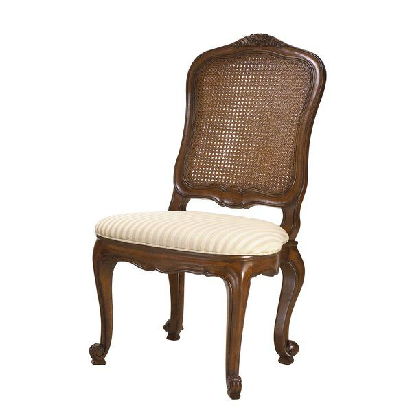 smart striped upholstery gives this classic louis xvinspired side chair a understated look
