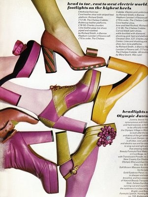 Fashion editorial in 'Vogue' magazine for various platform shoes by Chelsea Cobbler, British, 1972.