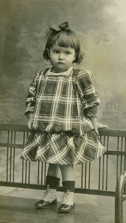 +~+~ Antique Photograph ~+~+   Cutie pie, pouty little girl in plaid and fancy boots.