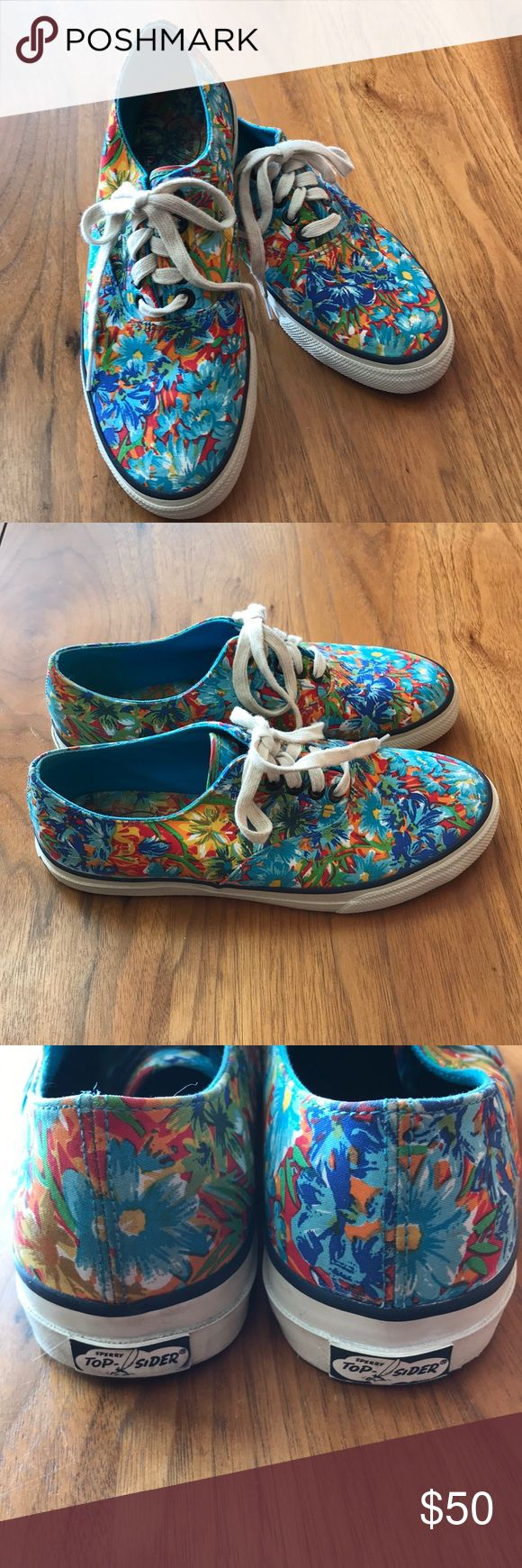 Sperry Top Siders floral sneakers Great condition for these retro style Sperry sneakers These are men's sneakers but they fit my feet just fine. Please research fit on women buying men's sneakers as these could possibly fit a women's size 7.5-8. Great shoe for spring/summer wearing. No trades/No ️️ Offers welcome  Quick shipping Sperry Top-Sider Shoes Sneakers