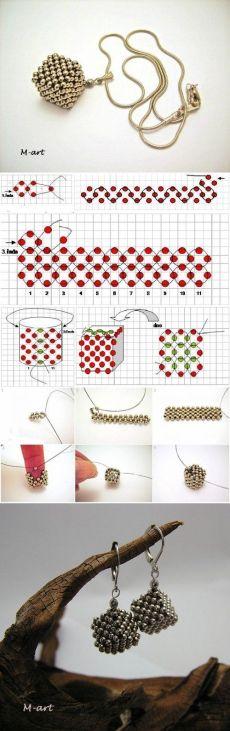 Золотистый кулон в виде кубика - маленькие бусинки золотого или серебристого цвета 3 мм в диаметре - мононить - швензы - цепочка - поролон или любой другой наполнитель 1. Начинаем плетение с простой цепочки в крестик, она должна состоять из 11 звеньев. 2-3. Далее поворачиваем на верх и плетем второй ряд звеньев параллельно первому и так же третий. 4. Сшиваем полотно так же техникой в крестик. 5-6. сплести донышко и крышечку. набить кубик чем-то мягким, что позволит ему держать форму