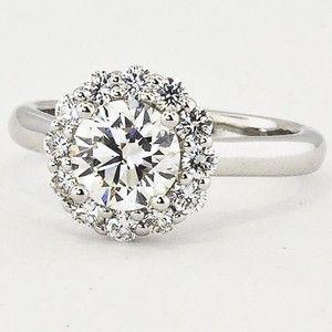 18k white gold lotus flower diamond ring set with a 087 carat round - Lotus Wedding Ring