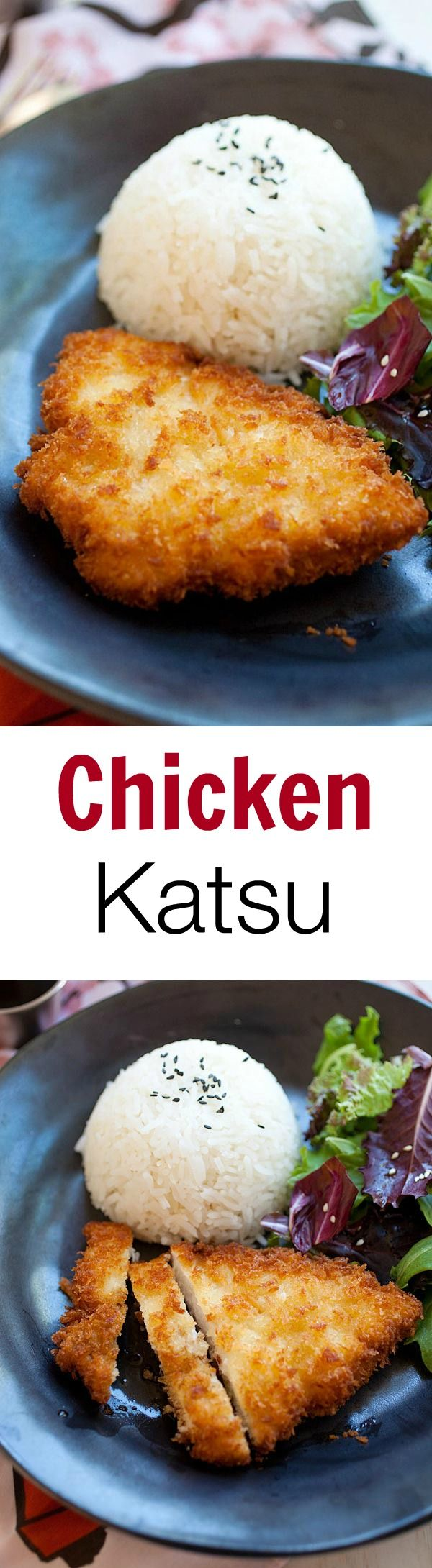 Japan - Chicken Katsu is Japanese fried chicken cutlet with bread crumbs/panko. Easy chicken katsu recipe, served with Tonkatsu sauce | rasamalaysia.com