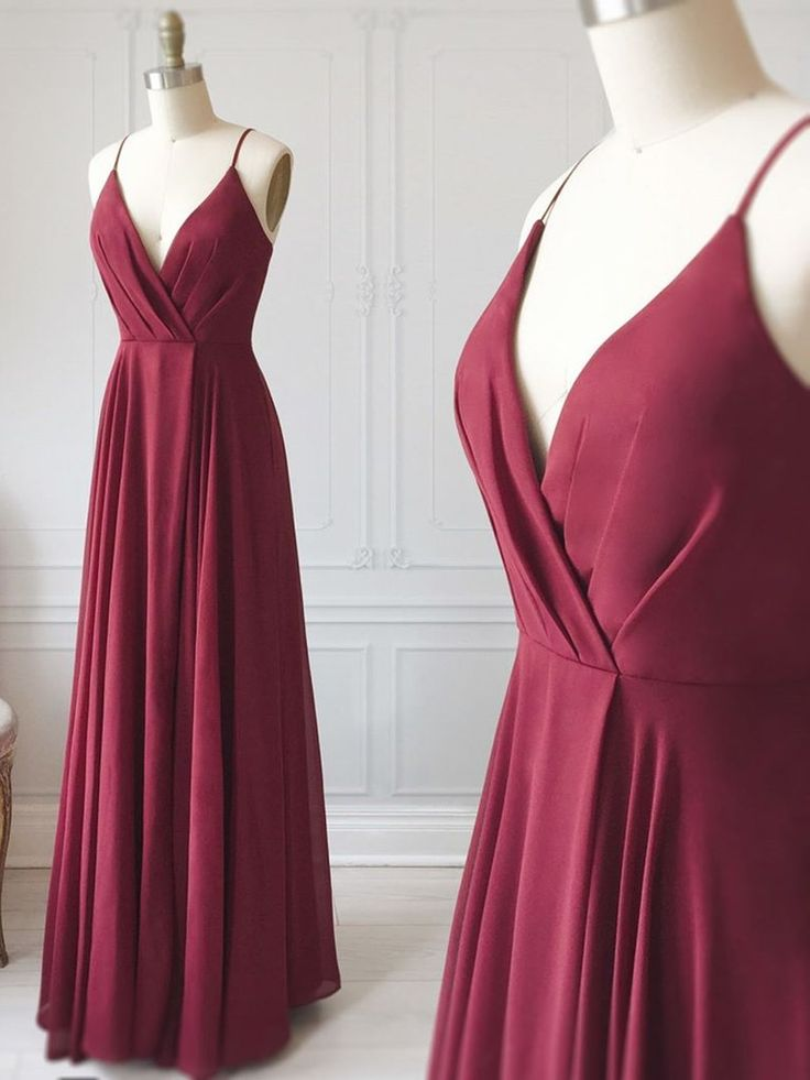 A Line V Neck Burgundy Prom Dresses, Floor Length Burgundy Formal Evening Graduation Dresses