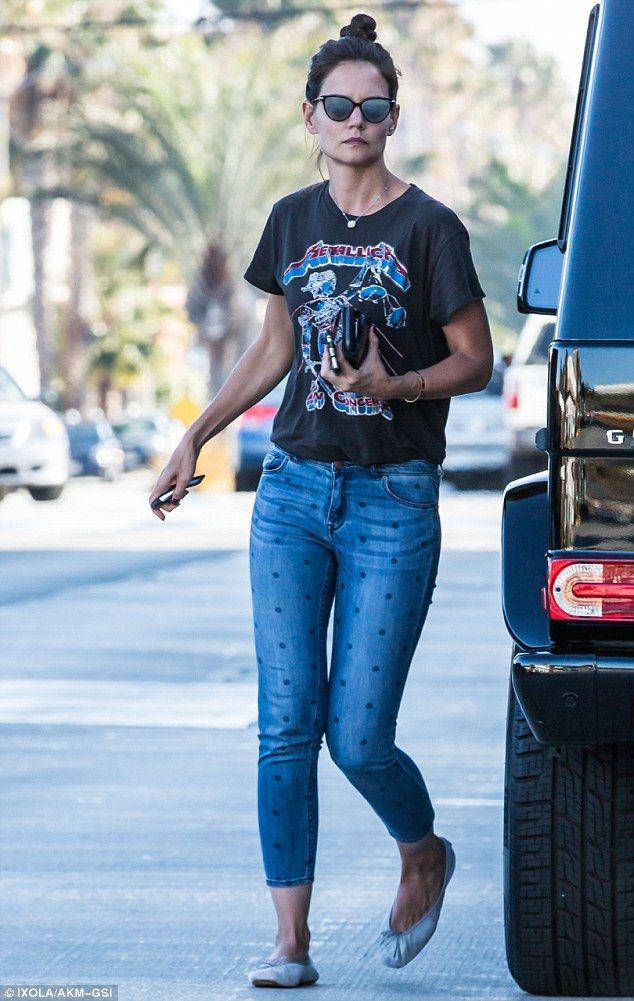 Star power: Katie Holmes did not disappoint on Friday while on a food run in Westwood, California, dressed in polka dot patterned jeans and a concert tee