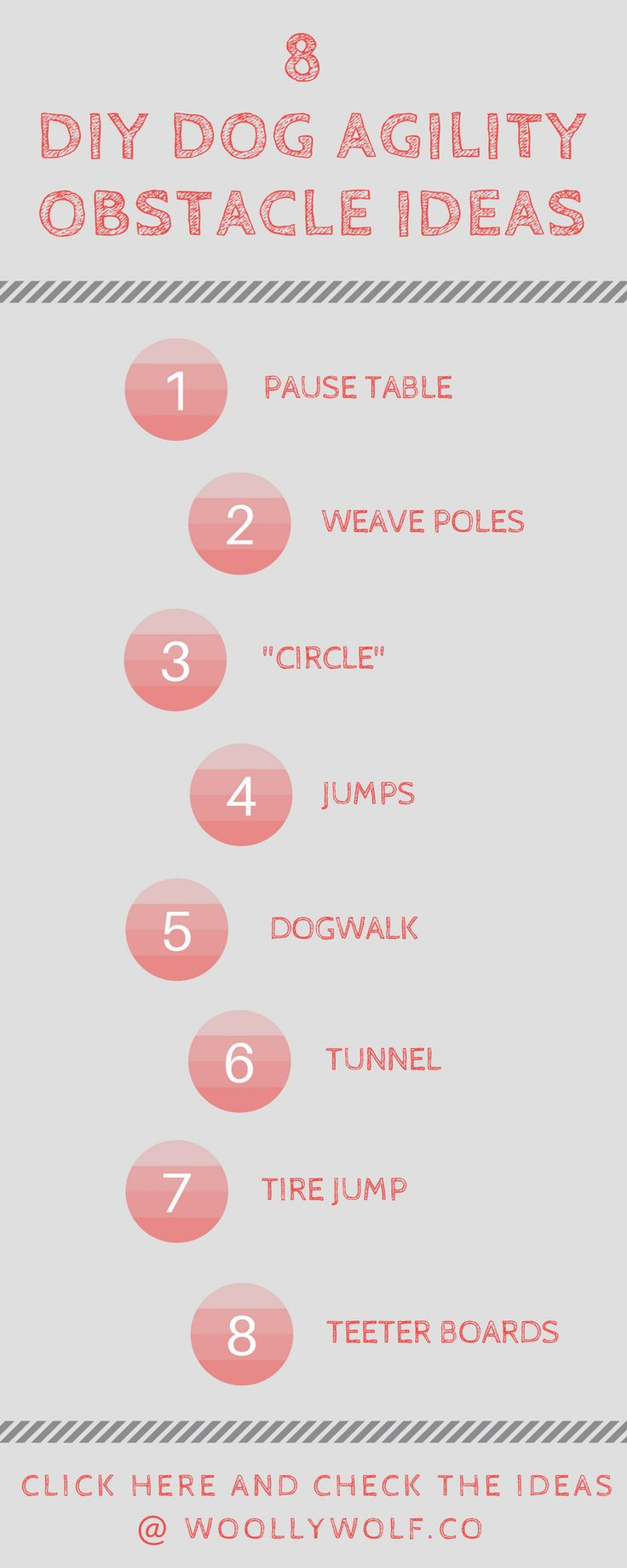 8 DIY Dog Agility Obstacle Ideas. Do it yourself agility training, hobby with doggo. Dog training ideas, have fun with your puppy.