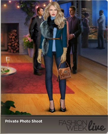 Today's model is wearing:  --Azul jacket with narrow belt  --Cornflower sleeveless turtleneck tank  --Parsival cserer gloves  --Faux fur wrap