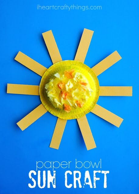 Bright and Colorful Kids Sun Craft! Have a fun craft session with your kids using paper bowls, construction paper, Elmer's X-Treme Glue Sticks, and Elmer's Squeeze 'n' Brush Painters.