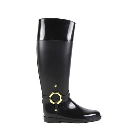 #PolliniOnlineBoutique #AutumnWinter2012 Rubber rider #boots with metal details with the #StudioPollini logo on them. These classic #riderboots are the brand's symbol, presented every season with different modern particulars, in this case they are made in #rubber to be chic and #trendy also in the #rain.