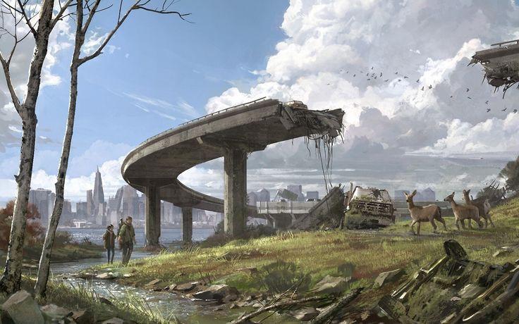 видео игры, апокалиптический, последний из нас, руины, олень