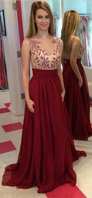 Burgundy Prom Dresses,Backless Prom Dress,Lace Prom Dress,Wine Red Prom Dresses,Formal Gown,Open Back Evening Gowns,Modest Party Dress,Chiffon Prom Gown For Teens
