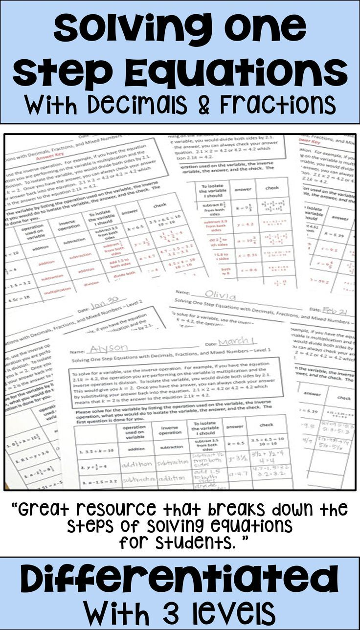 Solving One Step Equations With Fractions And Decimals Worksheets Using Notes And Steps For Solving One Step Equations Fractions Equations [ 1288 x 736 Pixel ]
