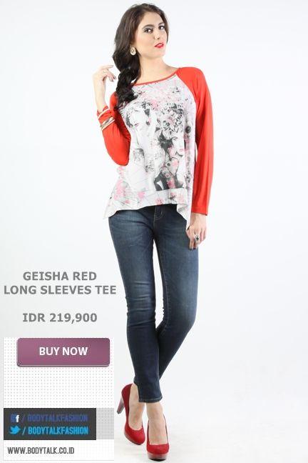 GEISHA RED LONG SLEEVES TEE ini bisa jadi pilihan bersantai di sore hari ladies IDR 219,900 >> http://ow.ly/ufh2Q