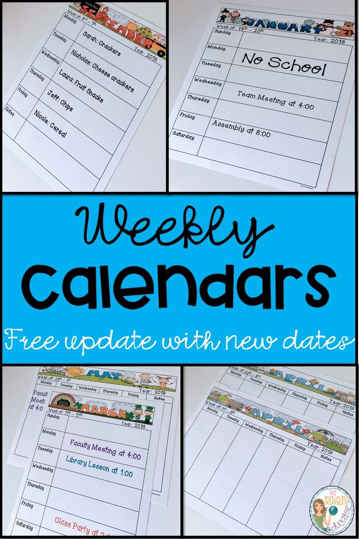 These weekly calendars make it easier for teachers to stay organized in the classroom.  These fun, editable calendars includes cute clip art for all months of the year and special clip art for different holidays.  Weekly calendar templates are great for lesson plans, setting goals, parent communication and so much more.  Click here for more information about these weekly calendars.