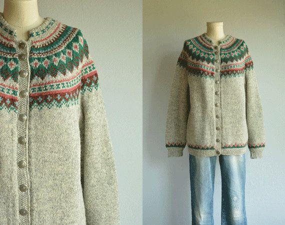 Vintage Norwegian Wool Fair Isle Cardigan / 60s by zestvintage