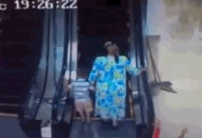 The residents of Uzbekistan trying out the country's first escalator: | 33 GIFs From 2013 That Will Make You Laugh Every Time