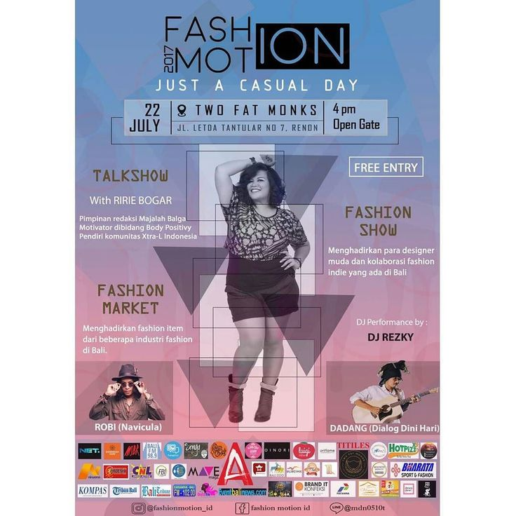 MARK YOUR CALENDARS BALI!  Yuk dateng ke acara Fashion Show yang membawa kritik sosial di dalamnya! #BALIFASHIONMOTION2017 tahun ini membawa tema #BODYPOSITIVITY -Just a casual Day- @twofatmonks Renon Denpasar (seberang Bank Indonesia)  22 Juli 2017  16.00 - selesai  Bakalan ada penampilan dari Fashion Designer Lokal : ATHA dan MONEKO dengan menampilkan model dengan beragam bentuk dan ukuran tubuh.  Ga ketinggalan ada Fashion Market Talkshow Body Positivity bareng @Ririebogar dan penampilan…