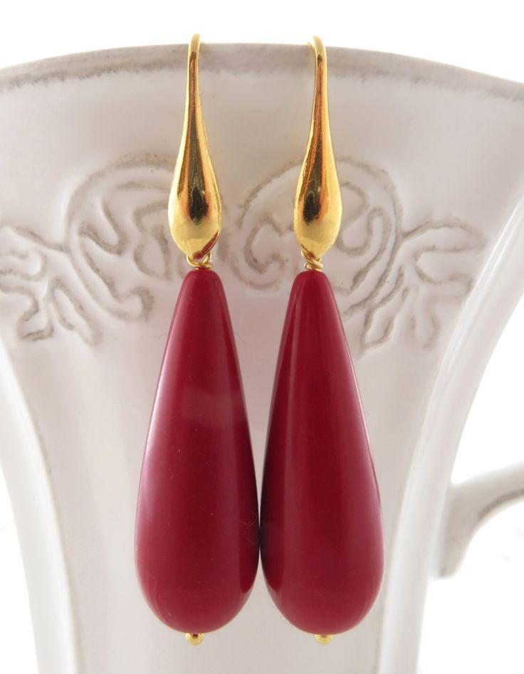 Red drop earrings, dangle earrings, golden sterling silver 925, italian jewelry, uk teardrop earrings, wedding jewellery, christmas gift by Sofiasbijoux on Etsy