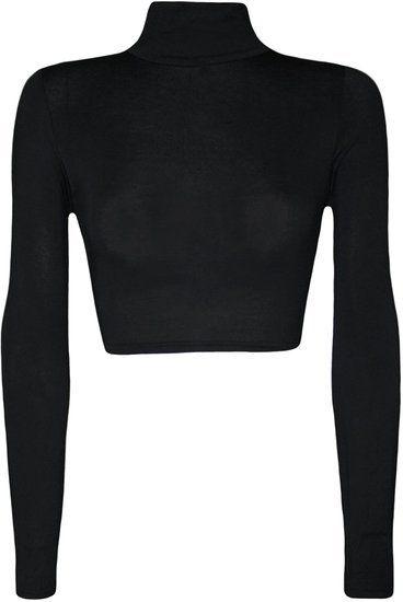 """Trouver plus T-shirts Informations sur Simple usure 2015 WearAll femmes col roulé cultures manches longues plaine Top, de haute qualité à partir de T-shirts Tight""""s Queen sur Aliexpress.com"""