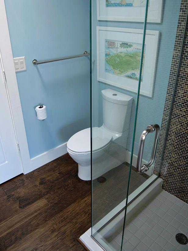 baby blue + brown.Floors Plans, Small Bathroom Designs, Small Bathrooms, Bathroom Remodeling, Glasses Shower, Bathroom Ideas, Shower Stalls, Hall Bath, Beautiful Room