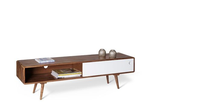 Swoon Editions Mid-century media unit in sheesham wood with white panel — just £179