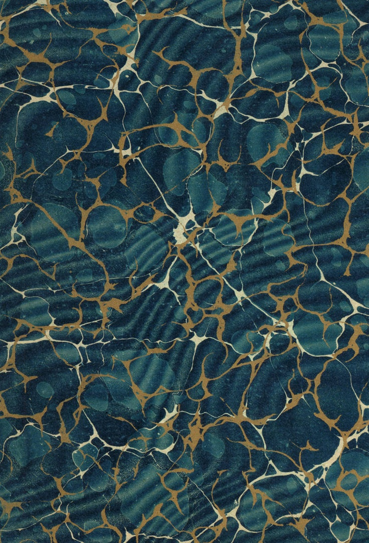 Vintage 19th c. marbled paper, Gold vein Overprinted over Spanish moiré on Turkish pattern