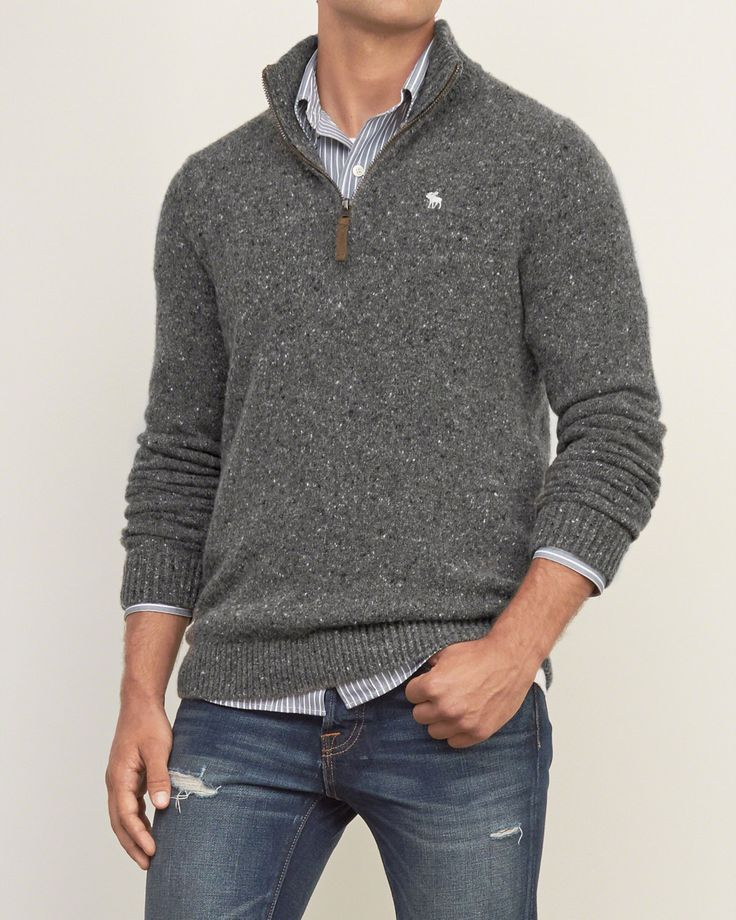Mens Iconic Quarter Zip Pullover | Mens Sweaters | Abercrombie.com - mens clothing suits, discount mens clothing, mens clothing deals