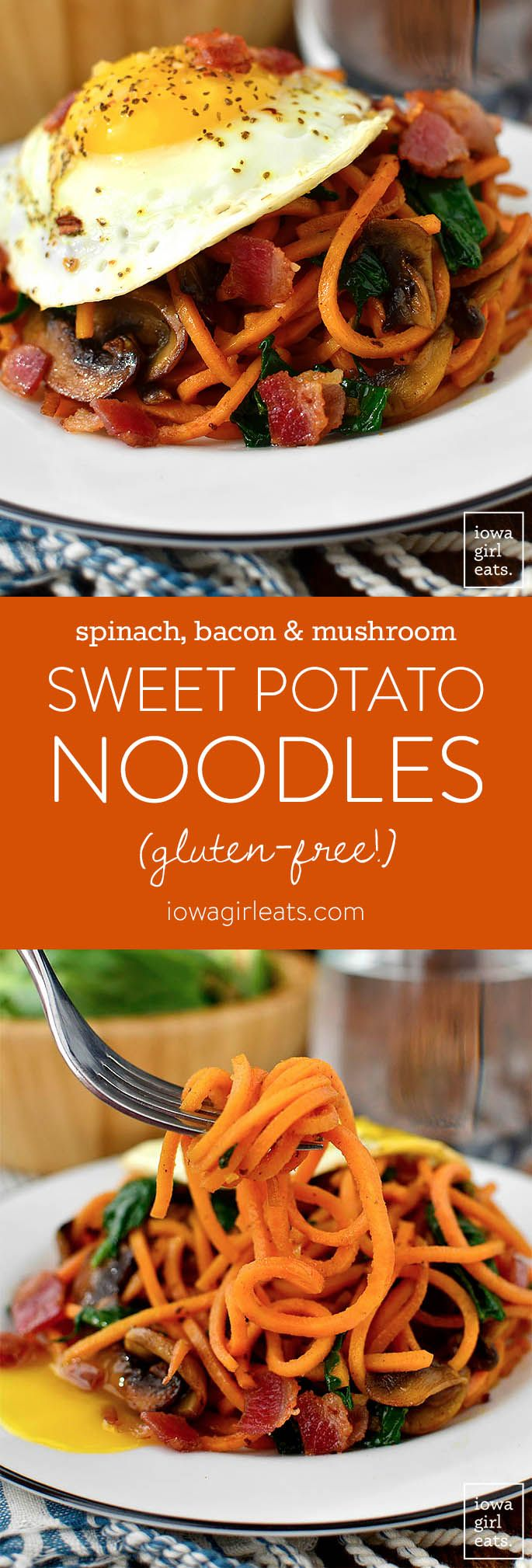 Spinach, Bacon and Mushroom Sweet Potato Noodles is a healthy and filling, 1-skillet dinner recipe that's packed with vegetables. Cooks in under 20 minutes, too!| iowagirleats.com #glutenfree