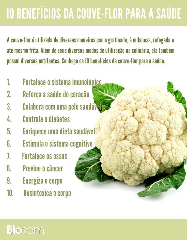 Clique ao lado e veja os 10 benefícios da couve-flor para a saúde #alimento #couveflor #alimentação #infográfico #saúde #alimentaçãosaudavel #bemestar