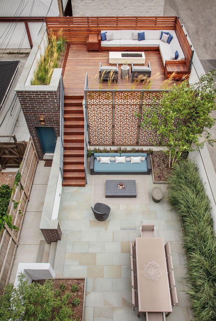 Urban Outdoor Retreat. Multi-level outdoor entertainment space for a city home