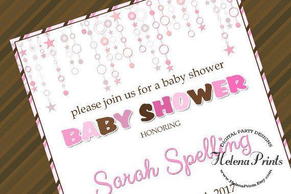 Baby shower invitation Girl baby shower invites by HelenaPrints