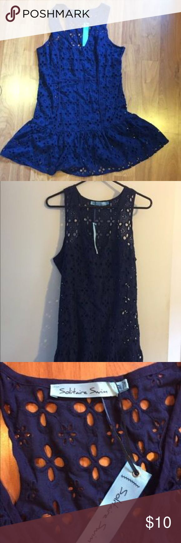 Navy sundress/swimsuit cover up Super cute beach cover up! Great navy color with eyelet cut outs throughout!  Perfect for the beach/pool and barbecues! solitaire swim Swim Coverups