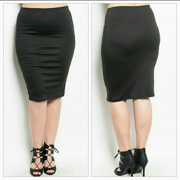 Black plus size skirt This sassy knit pencil skirt features a slim, stretch and elasticized waistline Skirts Pencil
