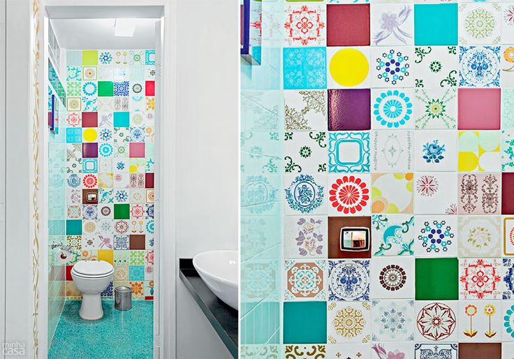 Mosaico colorido de azulejos d vida ao lavabo banheiro - Azulejos para mosaicos ...