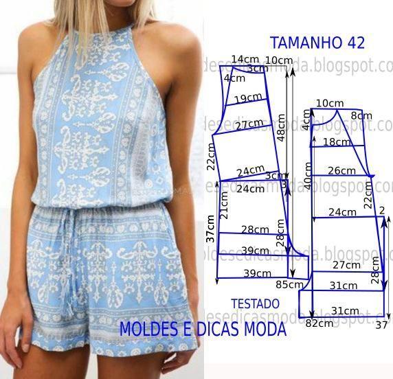MOLDE DE MACACÃO CASUAL -19 | Moldes Moda por Medida | Bloglovin'