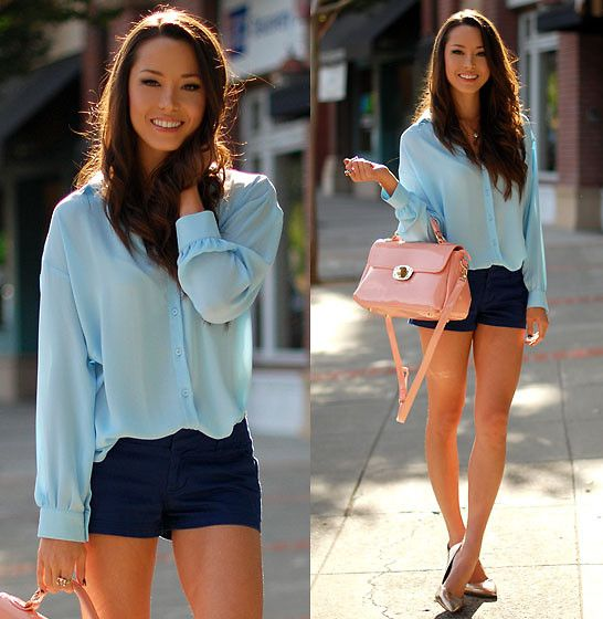 Dressy casual shorts outfit.: Blue Shorts, Fashion, Style, Shirts, Shorts Outfits, Clothing, Casual Shorts, Blue Blouses, Bags