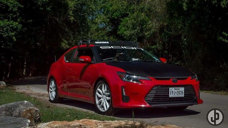 My 2014 Scion TC2 With Carbon Fiber Vinyl Wrapped Hood, And Yakima Roof Rack.    Scions   Pinterest   Carbon Fiber Vinyl, Scion And Roof Rack