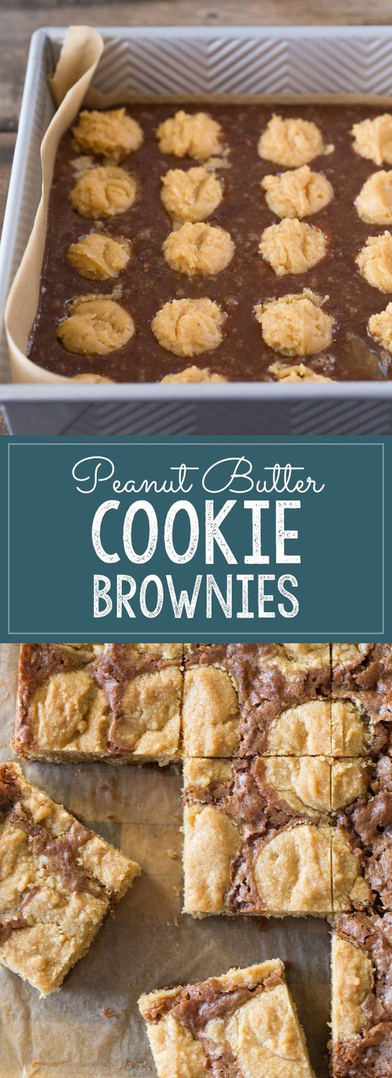 An easy homemade brownie batter studded with globs of peanut butter cookie dough for a chocolate peanut butter lovers dream come true. | Lovely Little Kitchen
