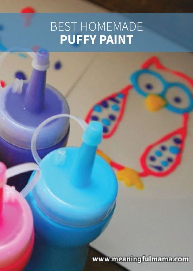 This homemade puffy paint recipe is easy to make so your kids can play a huge part in it. Put your paints in a squeeze bottle or use brushes for a thicker texture; then get creative with this DIY activity!