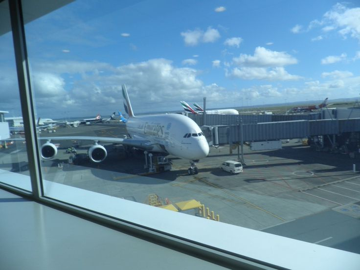 Our Emirates A380 at Gate 15 in Auckland.